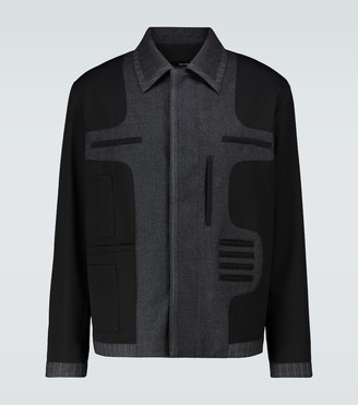 Fendi Cavalry wool and flannel striped jacket