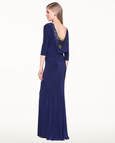 Le Château Knit Embellished Cowl-Back Fitted Gown