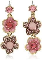 """Betsey Johnson Memoirs of Betsey"""" Pave Flower Double Mismatch Drop Earrings"""
