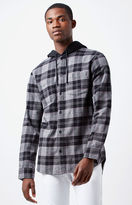 PacSun Hooded Plaid Flannel Long Sleeve Button Up Shirt