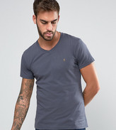 Farah T-Shirt With V Neck & F Logo Slim Fit Exclusive