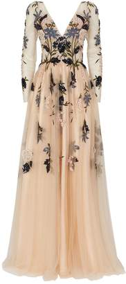 Jovani Floral Embellished Long-Sleeved Gown