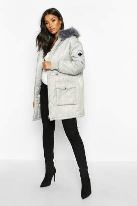 boohoo Maternity Faux Fur Trim Parka Coat
