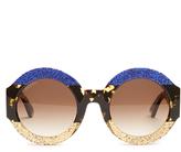 Gucci Tri-colour round-frame acetate sunglasses