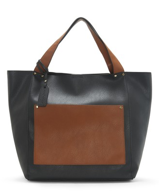 Sole Society Women's Noemi Tote Vegan Leather Black Combo From