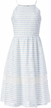 J.o.a. Women's Lace Mix Dress W/Button Down Back Detail