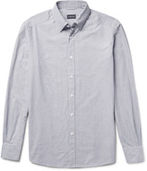 Ermenegildo Zegna Slim-Fit Button-Down Collar Micro-Checked Cotton Shirt