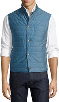 Luciano Barbera Quilted Cotton Pique Vest, Blue