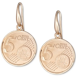 Italian Gold Euro-Look Coin Drop Earrings in 18k Gold-Plated Sterling Silver