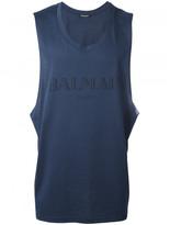 Balmain Mylar logo tank top
