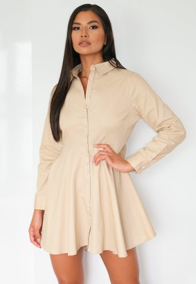 Missguided Petite Sand Pearl Button Shirt Dress