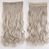 """Popular 24"""" Ash Blonde Mix Silver Grey Long New Wavy Curly 5 Clips One Piece Clip in Hair Extension Extensios Half Full Head Hair Piece"""