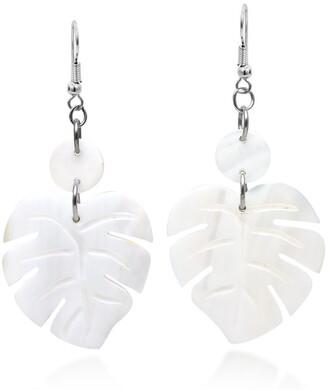 Aeravida Handmade Enchanting Nature Summer Leaf White Kabibe Shell Dangle Earrings