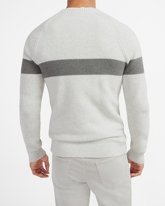 Express Chest Stripe Knit Crew Neck Sweater