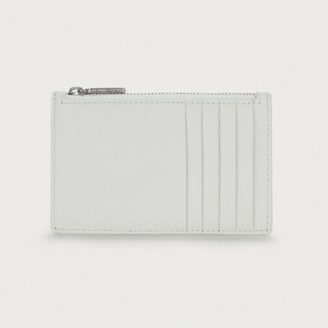 The White Company Leather Credit Card Zip Purse, White, One Size