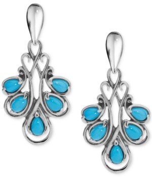 Carolyn Pollack Turquoise Fan Drop Earrings (2 ct. t.w.) in Sterling Silver