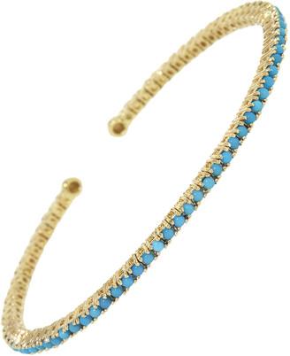 Jennifer Meyer Turquoise 4 Prong Tennis Cuff Bracelet - Yellow Gold