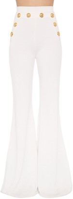 Balmain High Waisted Flared Viscose Knit Pants