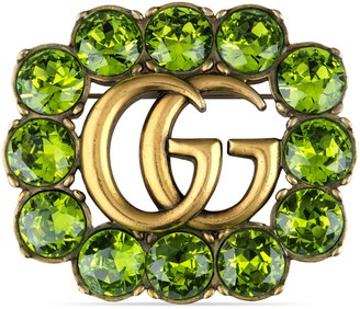 Gucci Green crystal Double G brooch