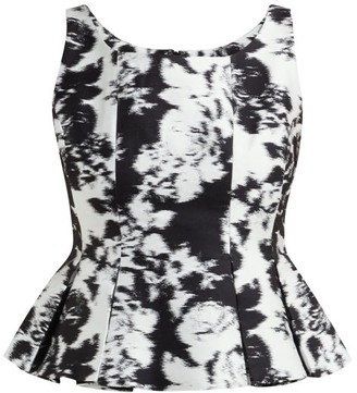 Erdem Kelsie Wide-neck Peplum-hem Top - Black White