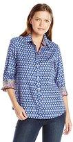 Foxcroft Women's 3/4 Sleeve Printed Sateen Wrinkle Free Shirt