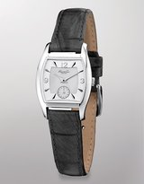 KENNETH COLE NEW YORK Cushion-Cut Black Leather Watch