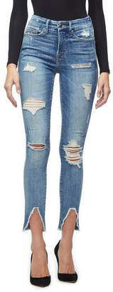 Ga Sale Good Legs Fray Front Triangle Jeans - Blue218