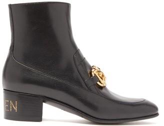 Gucci Ebal Horsbit Leather Ankle Boots - Black