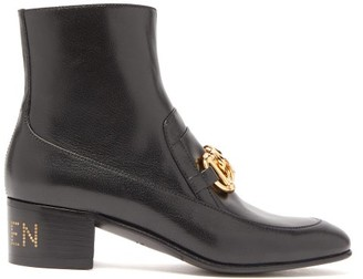 Gucci Ebal Horsbit Leather Ankle Boots - Womens - Black