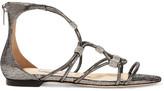 Jimmy Choo Memento Talla Crystal-embellished Lizard-effect Leather Sandals - Gunmetal