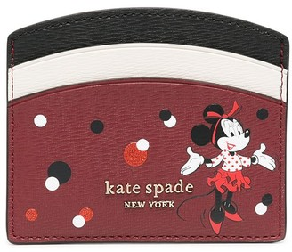 Kate Spade Minnie Mouse-print logo-plaque card holder