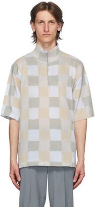 MAISON KITSUNÉ Grey Zipped Collar Pullover Polo