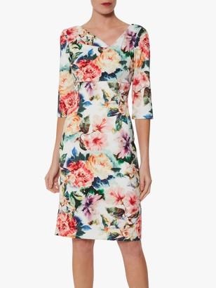 Gina Bacconi Isolena Floral Scuba Dress, Poppy Red/Multi