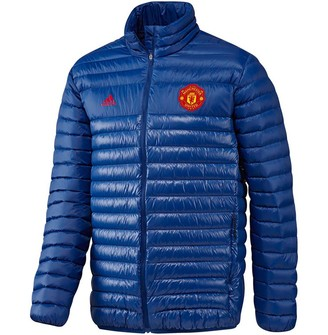 adidas Mens MUFC Manchester United Light Down Jacket Collegiate Royal/Collegiate Royal/Real Red
