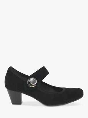 Gabor Nola Suede Cone Heeled Mary Jane Court Shoes, Black