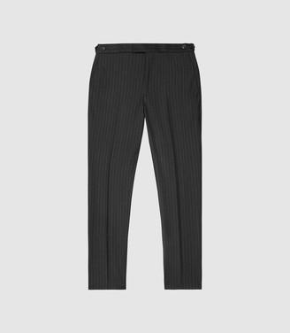Reiss Salan - Slim Fit Pin Stripe Trousers in Charcoal