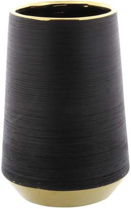 Uma Enterprises Uma Wide, Round Matte Black Porcelain Vase With Metallic Gold Rim & Ridged Texture