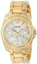 August Steiner Women's AS8075YG Crystal Accented Quartz Multifunction Gold-tone Bracelet Watch