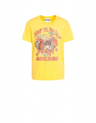Moschino Shop Till You Drop Jersey T-shirt Man Yellow Size 44 It - (34 Us)