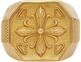 Emanuele Bicocchi Gold Lily Chevaliet Signet Ring