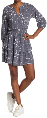 Collective Concepts Printed Smocked Waist Tiered Mini Dress
