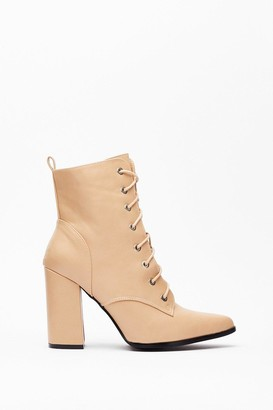 Nasty Gal Womens Faux Leather Lace Up Heeled Boots - Beige - 3