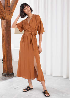 And other stories Side Slit Midi Wrap Dress