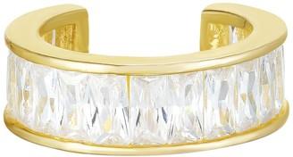 Sphera Milano 14K Yellow Gold Plated Sterling Silver Baguette-Cut CZ Ear Cuff