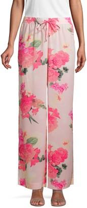 Calvin Klein Collection Floral-Print Wide-Leg Pants
