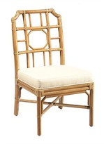 The Well Appointed House Leather Wrapped Rattan Side Chair in Nutmeg