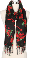 Betseyville by Betsey Johnson Black Poinsettia Bouquet Scarf