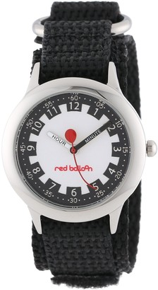 EWatchFactory Red Balloon Kids' W000186 Black Velcro Stainless Steel Time Teacher Watch