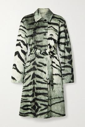 Dries Van Noten Tiger-print Satin Trench Coat - Green