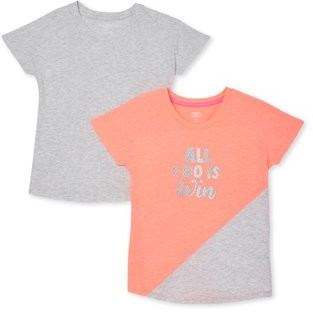 Athletic Works Girls Graphic & Solid Active T-shirt, 2-Pack, Sizes 4-18 & Plus